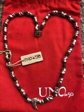uno de 50 necklace Men's White Fang Silver Plated And Leather Cord NEW! 😍