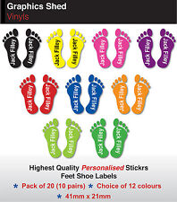 10 PAIRS PERSONALISED SHOE NAME STICKERS LABELS KIDS FEET FOR SCHOOL SHOES TAGS