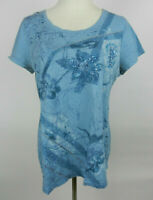 Style & Co L Womens Top Blue SS Scoop Neck Embellished Floral