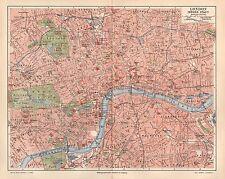 LONDON St.Pauls Tower Westminster Abbey Hyde Park City Map Stadtplan 1896