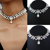 Fashion Womens Rhinestone Choker Collar Chunky Bib Statement Crystal Necklace