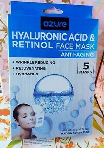Azure Kosmetics Hyaluronic Acid & Retinol Anti-Aging Face Mask 5 pack Free Ship