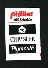 Philadelphia Phillies--1979 Pocket Schedule--Chrysler Plymouth