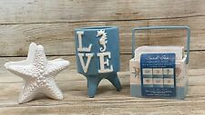 Ocean Sand & Sea Ceramic Coasters In Container Napkin Holder,  Candle Holder NEW