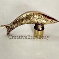 SOLID BRASS DESIGNER HEAD FISH HANDLE for WOODEN WALKING VINTAGE CANE STICK NEW