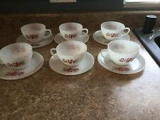 Fire King Primrose 6 Cups And Saucers made in America.