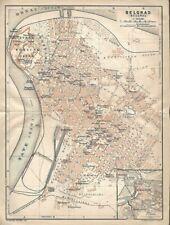 Original 1911 Streetcar Map BELGRADE Fortress Serbia Danube Sava Kalemegdan