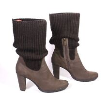21S Marc O'Polo Damen Stiefel Sock-Boots Leder braun Gr. 40 (6,5) Strickbesatz