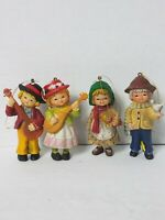 Boy Girl Country Kids Ornaments Vintage Made in Hong Kong Lot of 4 Guitar Doll