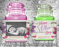 Personalised Candle Label Happy Birthday Gift Mother Day Mum Mummy Photo Sticker
