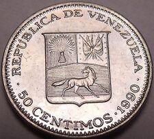 Gem Unc Venezuela 1990-I 50 Centimos~Simon Bolivar~Fantastic~Free Shipping