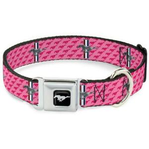 Buckle Down Seatbelt Dog Collar Ford Mustang Pink WFM010-S USA NEW Small