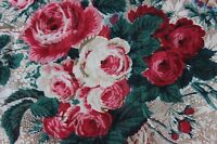 """Antique Hand Blocked French Cabbage Roses & Bows c1870 Chintz Fabric~18""""X 22"""""""