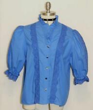 "BLUE COTTON LACE Dirndl BLOUSE Shirt German Women Edwardia Dress Skirt B43"" 16 L"