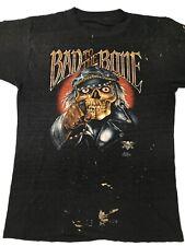 Vtg 80s 3d Emblem Bad To The Bone Skull T Shirt Large Double Sided Harley Hog