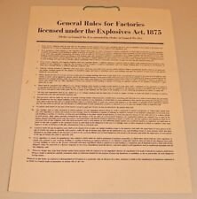 General Rules for Explosives Poster 1875