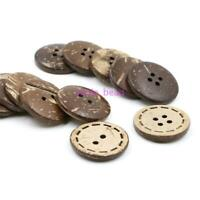 100Pcs Brown Coconut Shell 2/4 Holes Sewing Buttons Scrapbooking DIY 10/25mm