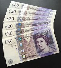 Set of 6 Clean Consecutive Uncirculated English GBP Sterling £20 Notes
