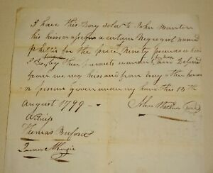 18th Century 1799 Document Of Sale 90 Pounds for Negro Girl Phillis