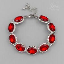 Hot Rhodium Plated Red Ruby Crystal Rhinestone Bracelet 05867 Fashion Jewelry