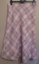 per Una Pink Check Skirt UK 12 US 10 (pu27) Italian Fabric