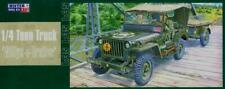 WILLYS JEEP W/TRAILER (U.S, ITALIAN,  GERMAN, SOVIET MKGS)#F299 1/35 MISTERCRAFT