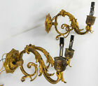 Antique Pair of Brass and Bronze Rococo Style Wall Sconces Candle Lights