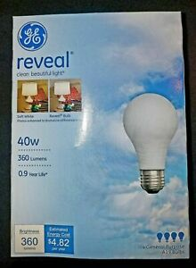 GE 48687 40 Watt A19 120V Reveal True Incandescent Bulbs (4 PACK)