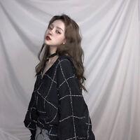 New Women Long Sleeve Autumn Tops V-Neck Blouse Korean Casual Loose Plaids Shirt