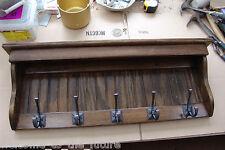 "35"" Handcrafted Wooden wall mount Coat Rack, Display Shelf Key Hook, Dark Walnut"