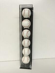 Baseball display case vertical wall mount holds 6 balls MLB 85% UV filtering