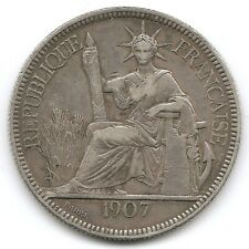 French Indo-China Silver 1907 1 Piastre Coin KM 5a.1 Statue of Liberty