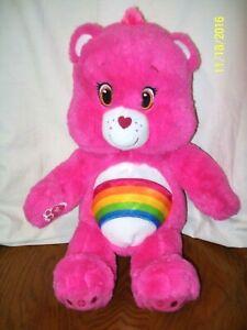 """Build A Bear Care Bears Cheer Bear Plush 18"""" Pink Rainbow Stuffed Animal Toy"""