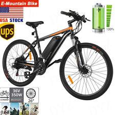 26'' 350W 36V Electric Mountain Bike Bicycle Shimano Black&Orange 21 Speed USA