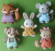 FOREVER FRIENDS Baby Children Animal Fox Cat Dog Mouse Dress It Up Craft Buttons
