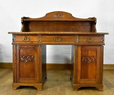 Antique vintage carved Oak pedestal writing desk