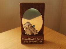 """Vintage Novelty Wooden Wall Hanging Plaque """"Tomorrow I Will Get Organized"""""""