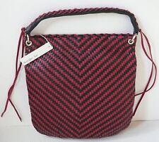 Christopher Kon Woven Black Red Leather Hobo Shoulder Bag NWT