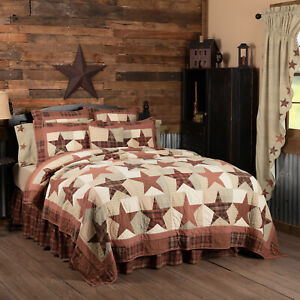 VHC Brands Country California King Quilt Red Independence Day Star Bedroom Decor