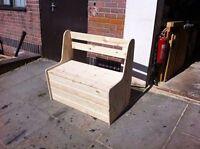 handmade pine garden bench with storage pew monks bench garden tool storage
