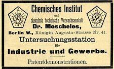 El Dr. Moscheles Berlín químico instituto publicitarias histórica de 1892