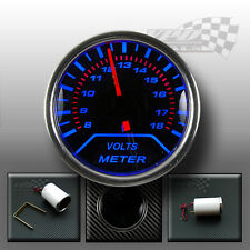 Volt gauge 52mm Blue led bulb interior dash smoked dial face kit panel pod 2""