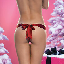 SHEER FRONT 100% SILK THONG SATIN BOW IN RED OR BLACK BY LEG AVENUE