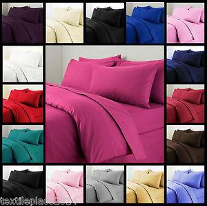 Plain Duvet Cover with Pillow Case Quilt Covers Bedding Single Double Super King
