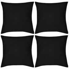 vIdaXL 4x Cushion Covers Cotton 80x80cm Black Sofa Protect Throw Pillow Case
