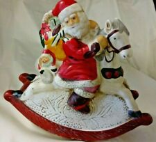 Vintage Porcelain Animated Music Box Hand Painted Santa on Rocking Horse