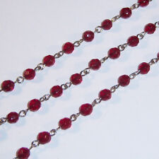 1 ft Ruby Red Rosary Chain Faceted Glass Beads Silver Linked Rosary 6mm 1 Foot