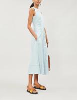 Sportmax Blue Siena Contrast-Stitch Sleeveless Midi Dress Women's Size 2  85315