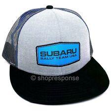 Subaru Rally Team USA Flat Bill Trucker Cap Hat Grey/Black Adjustable Official