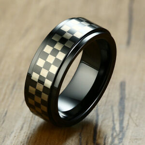 Men Wedding Ring Tungsten Carbide Band Checkered Checkerboard Engagement Promise